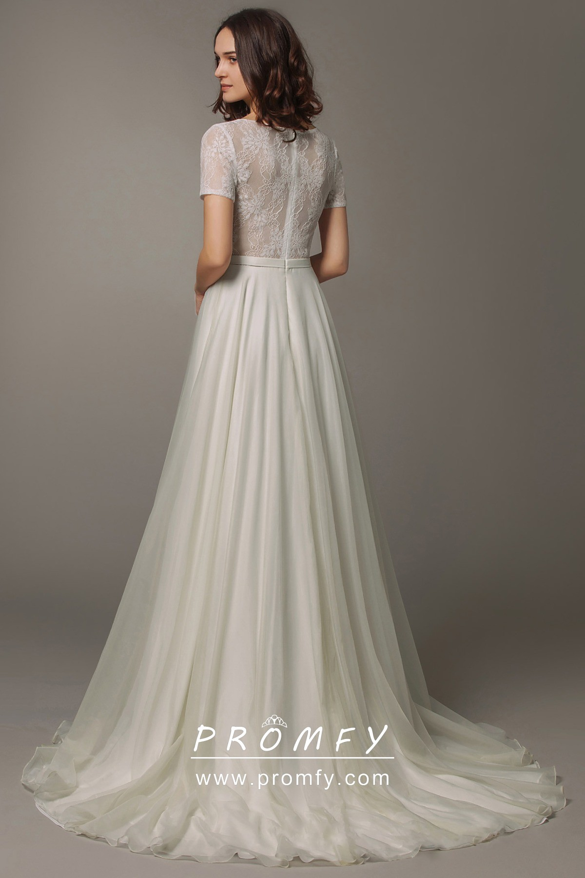See Through Lace Top Modern A Line Wedding Dress Promfy