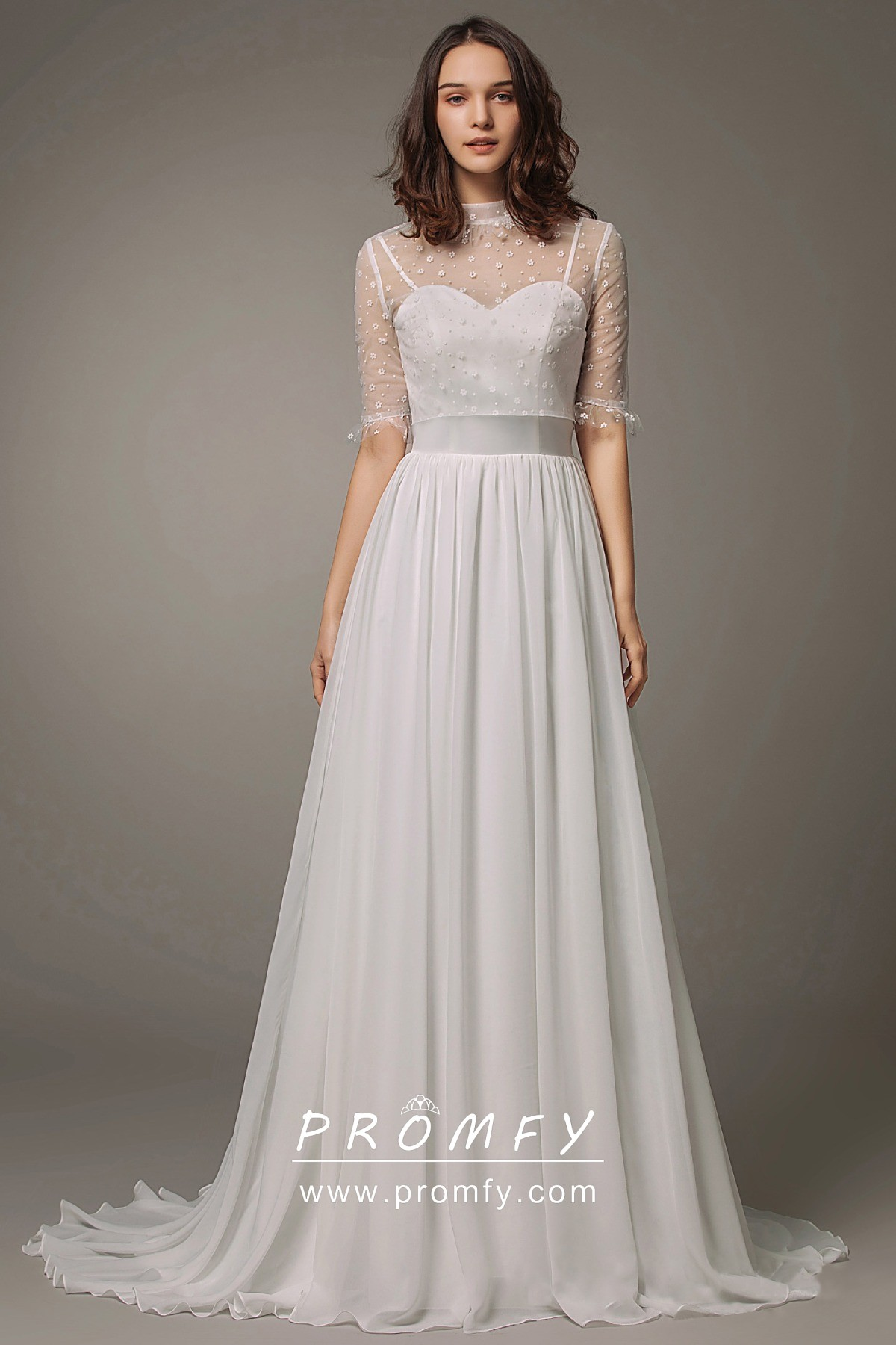Half Sleeve Tulle Top Satin & Chiffon Wedding Dress
