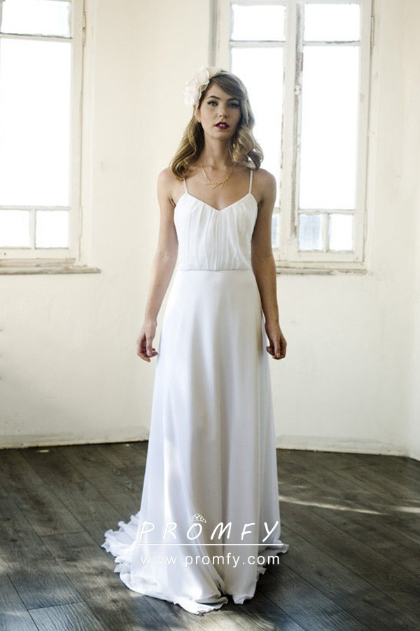 Casual White Chiffon Backless A Line Bridal Gown