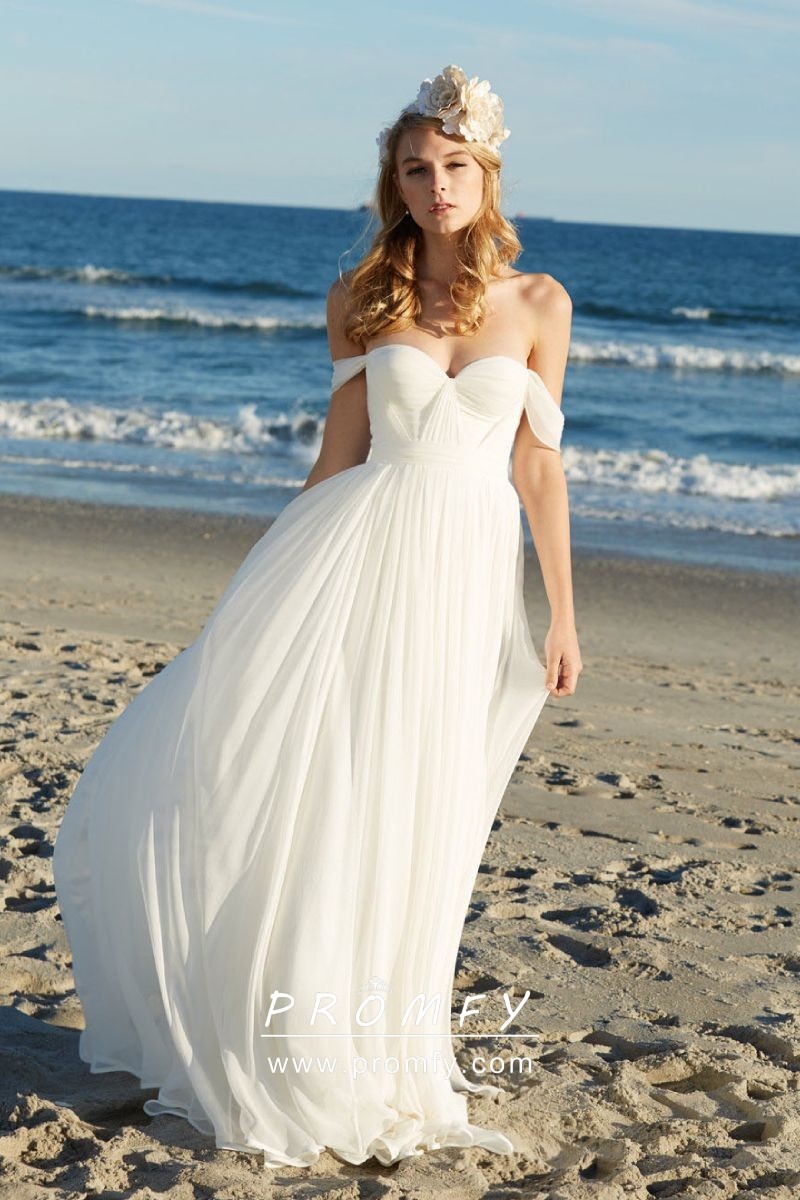 release info on promo codes classic shoes Off-the-shoulder Ivory Chiffon Beach Wedding Dress