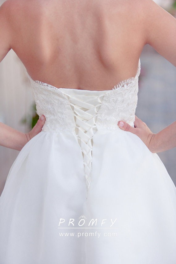 Strapless Ivory Lace And Tulle Short Bridal Dress Promfy,Outdoor Wedding Simple Wedding Dresses With Sleeves