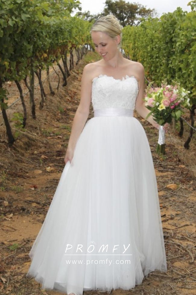 Simple Lace And Tulle Strapless Rustic Wedding Gown