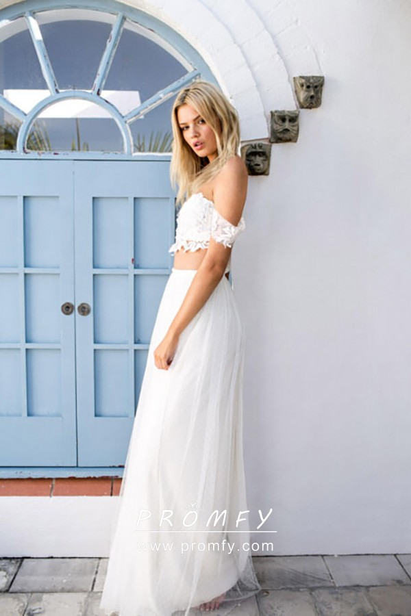 Lace And Tulle Two Piece Informal Wedding Dress Promfy