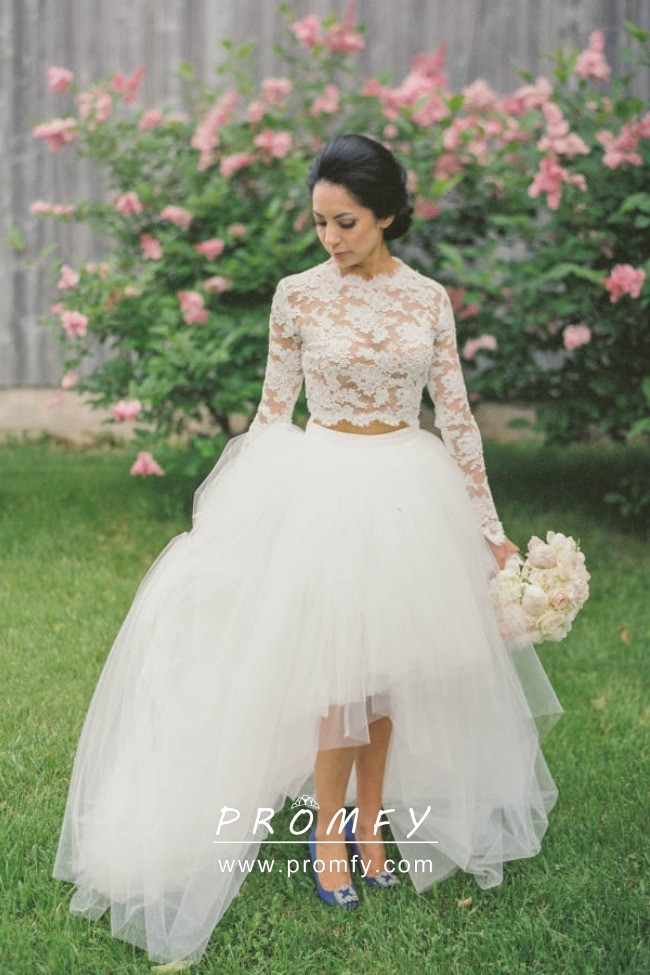 High Low Lace And Tulle Wedding Dress