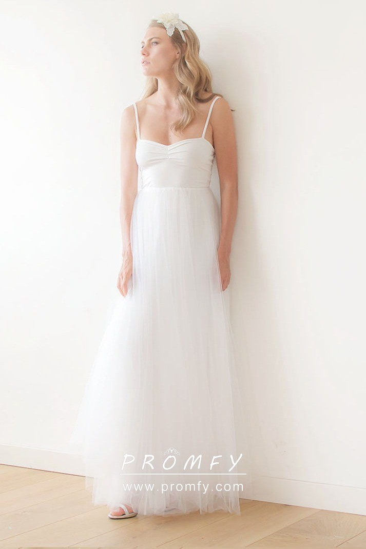 Informal Wedding Dresses.Simple Jersey And Tulle Empire Waist A Line Informal Wedding Dress