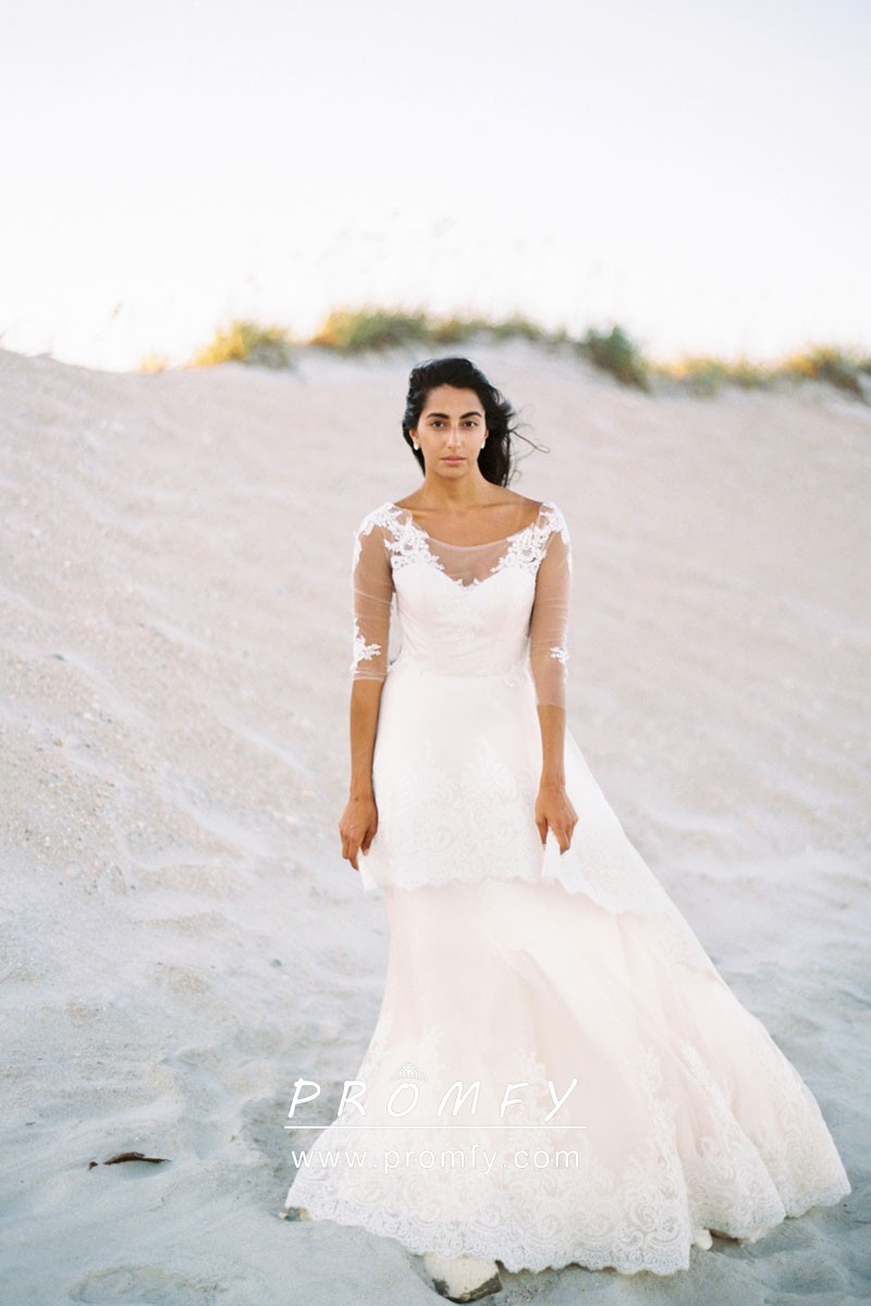 Ivory Lace Sleeved Layered Ball Gown Wedding Dress