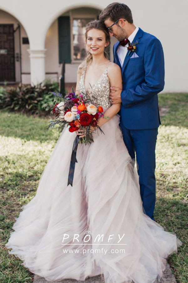Rhinestones Bodice Tiered Tulle Unique Wedding Gown Promfy