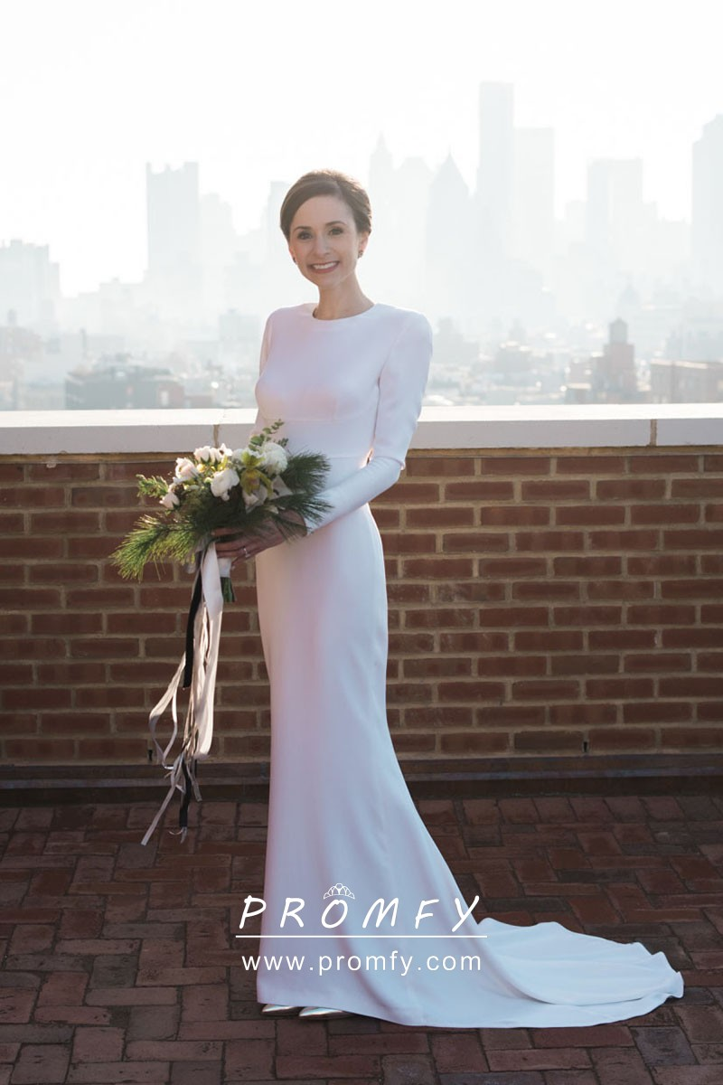 Long Sleeve White Satin Mermaid Wedding Dress Promfy