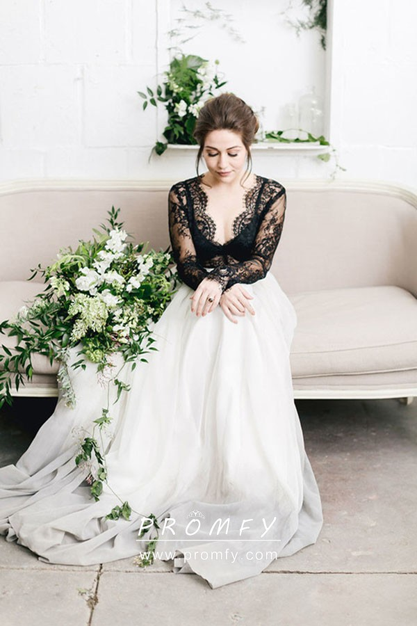 2b7689ebbf Black Lace Long Sleeve with Off-white to Gray Ombre Chiffon Wedding ...