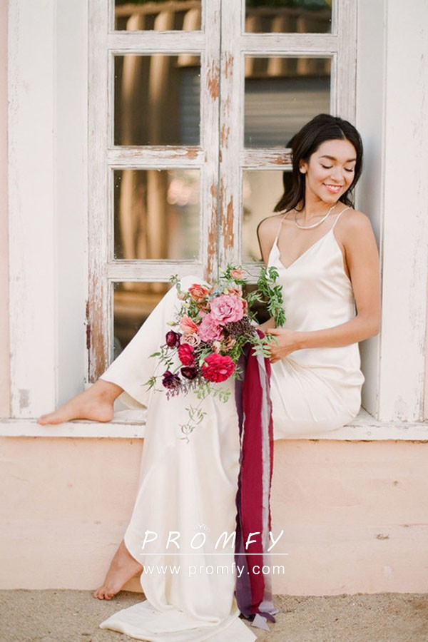 Ethereal Wedding Dress.Ivory Satin V Neck Open Back With Spaghetti Straps Long Ethereal Wedding Gown