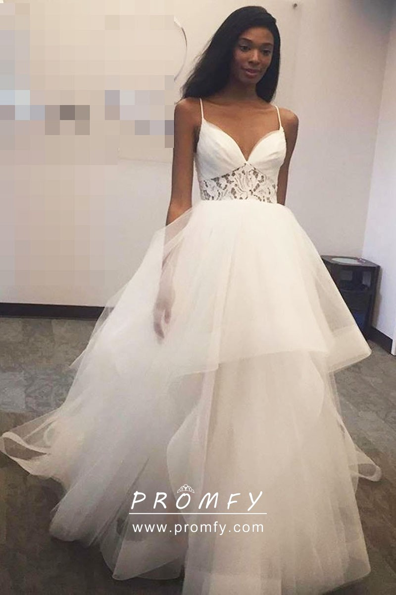 White Layered Tulle Lace Modern Wedding Ball Gown