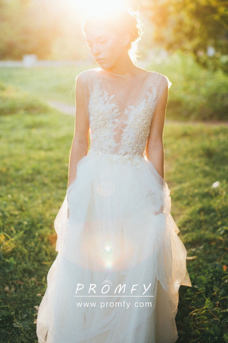 Ivory Lace And Tulle Illusion Country Wedding Dress