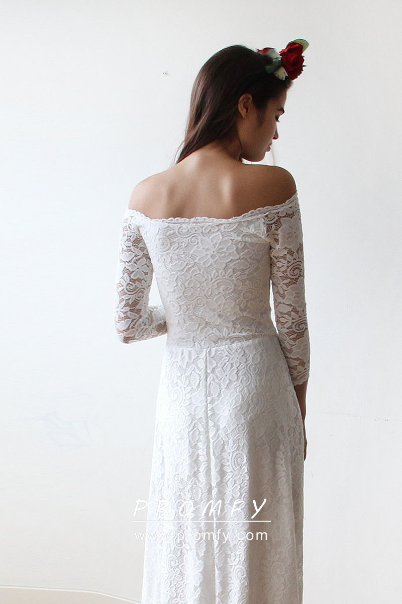 Simple Off White Scalloped Lace Off The Shoulder Long