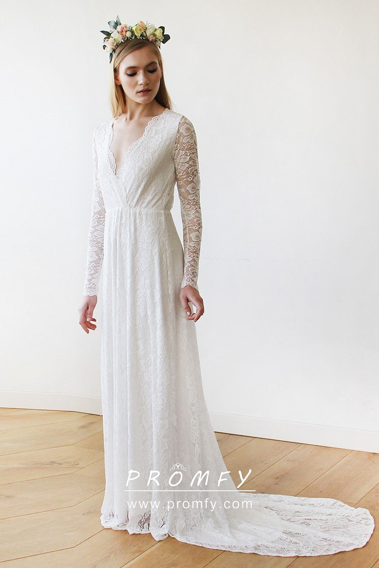 Scalloped Plunging V Neckline Illusion Long Sleeve Lace Wedding Dress With Court Train