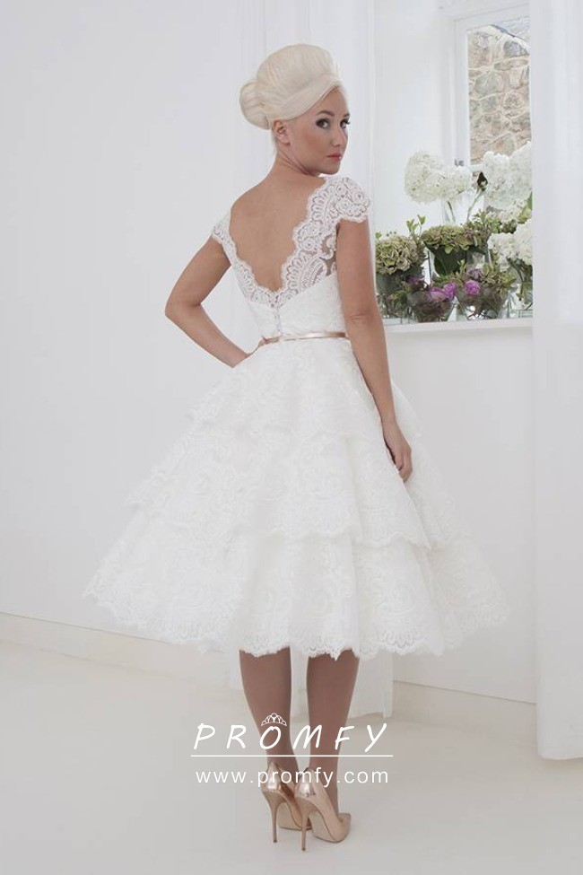 1950s Vintage Tiered Scalloped Lace Tea Length Wedding