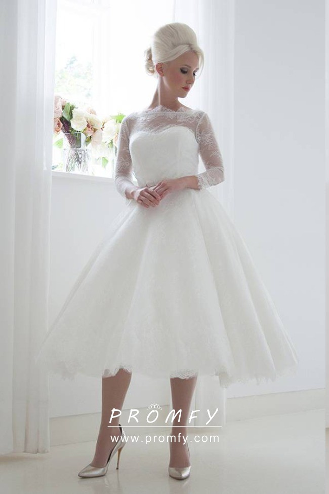4 Sleeve Tea Length Wedding Gown