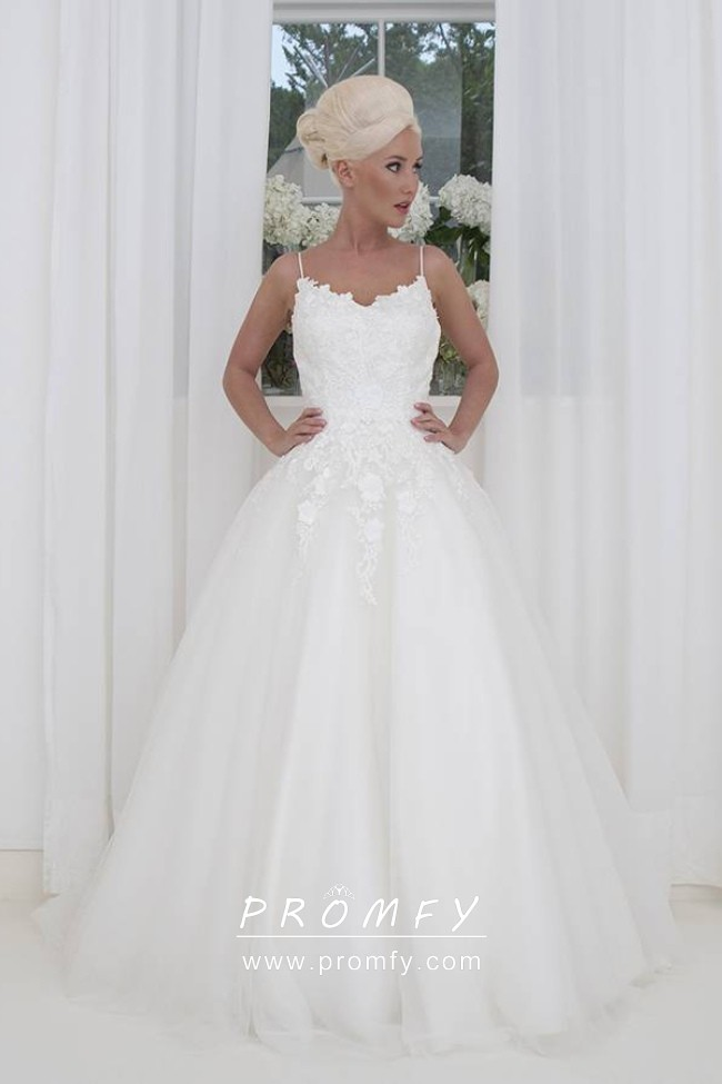 Glamorous White Tulle And Lace Jagged V Neck Spaghetti Straps Wedding Ball Gown