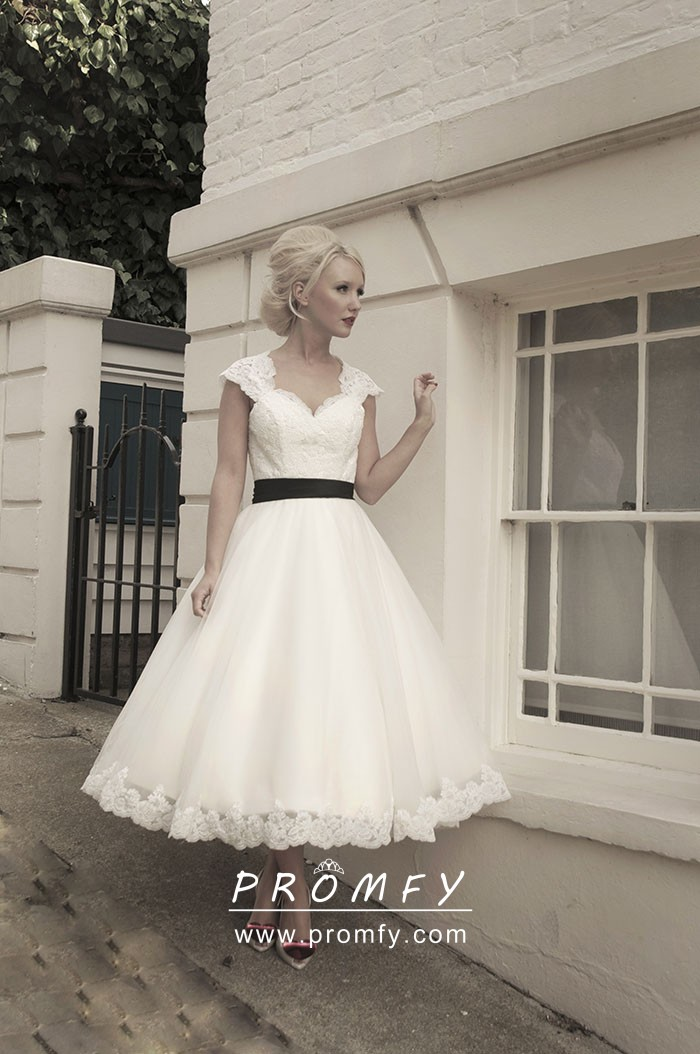Tea Length Wedding Dresses.1960s Vintage Scalloped Lace And Tulle Tea Length Wedding Gown With Black Ribbon