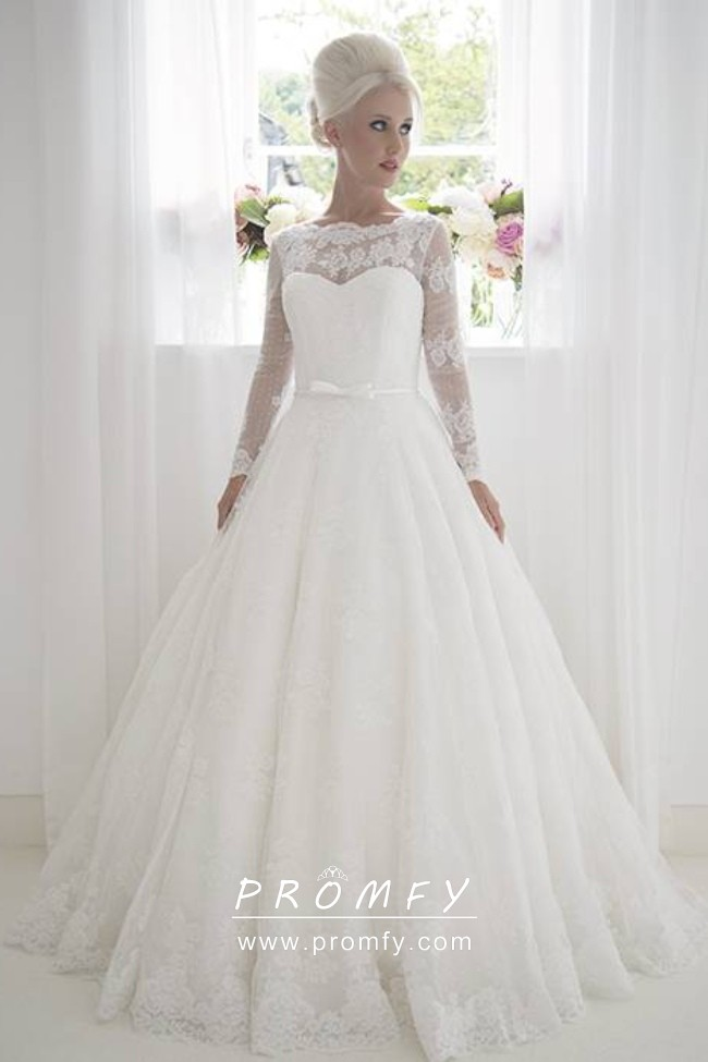 Illusion Lace Neckline Long Sleeve Wedding Gown Promfy