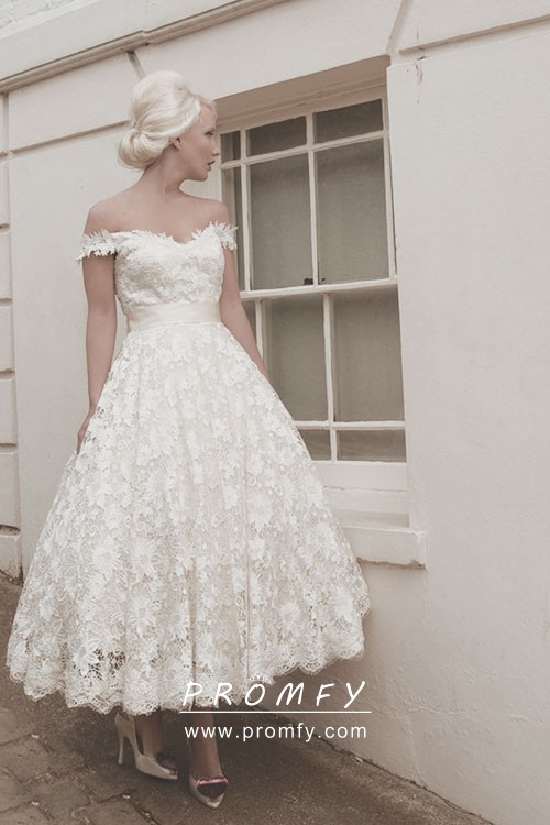Off The Shoulder Tea Length Ivory Lace Wedding Gown