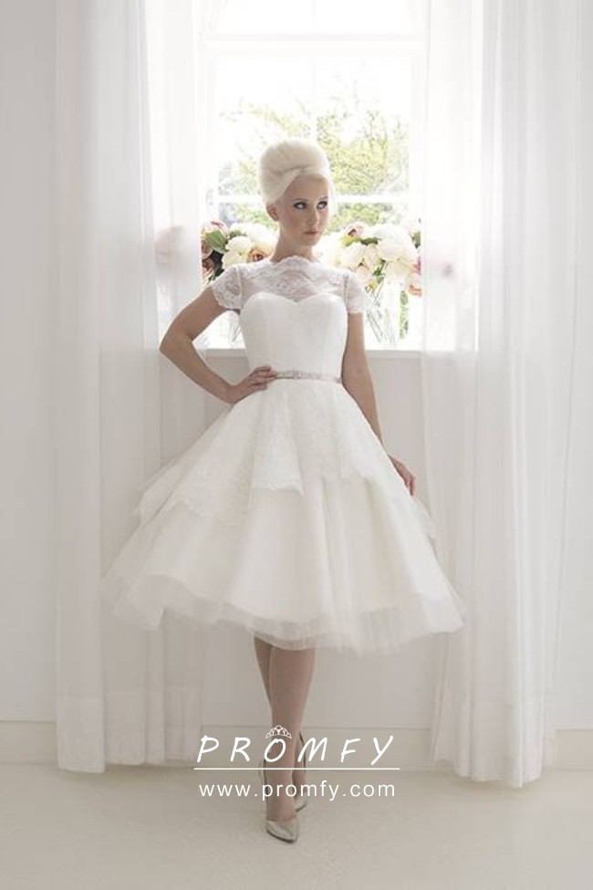 1950s Vintage Inspired Lace And Tulle Layered Knee Length Wedding Dress