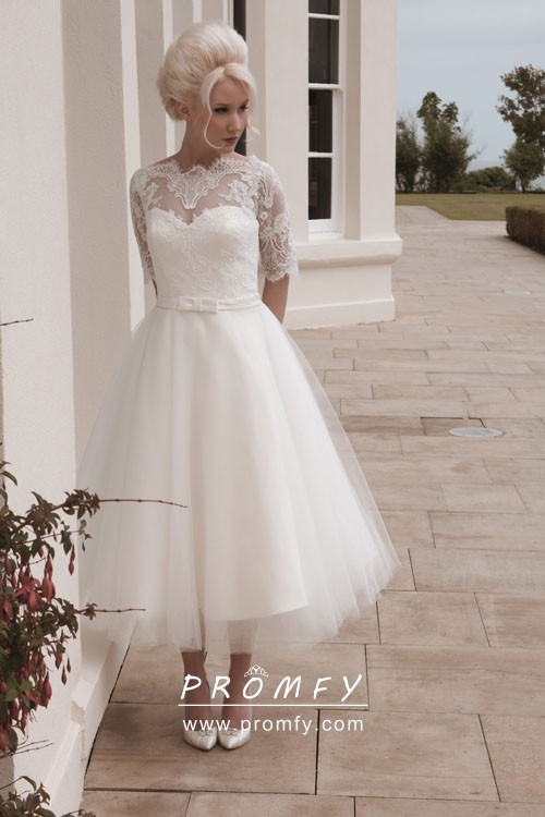1950s Elbow Length Sleeve Tea Length Wedding Dress