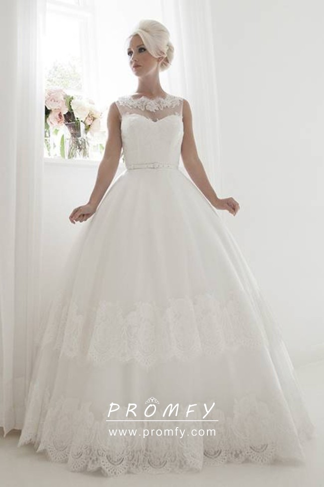 Illusion Sweetheart Tulle And Lace Wedding Dress Promfy