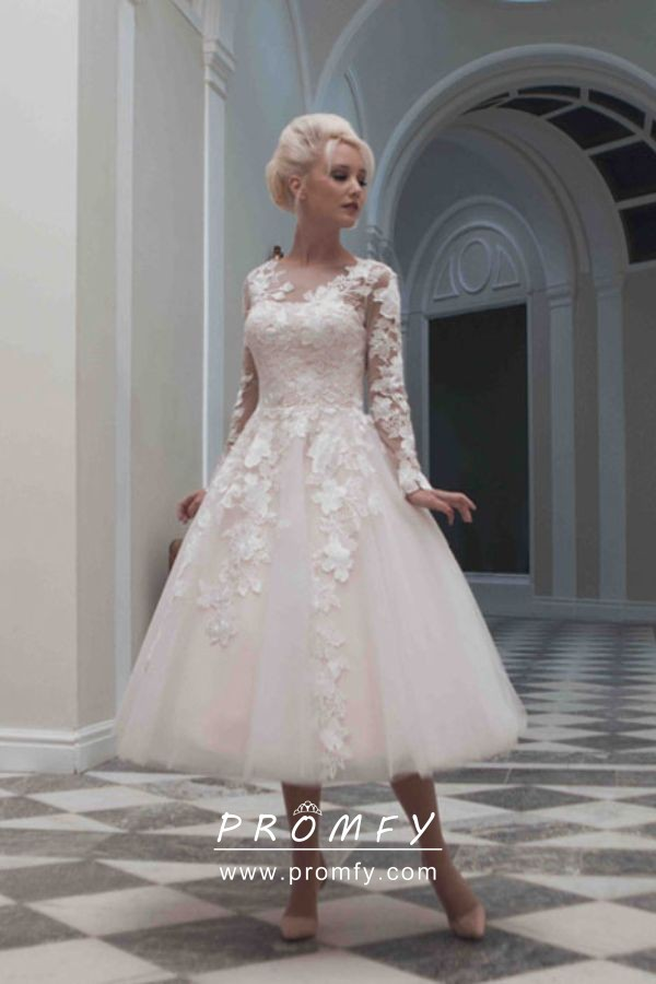 Blush Tea Length Lace And Tulle Bridal Gown Promfy