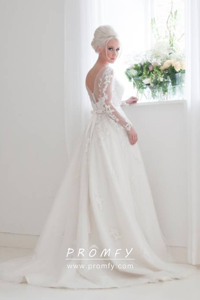 Illusion Lace Appliqued Long Sleeve Wedding Gown