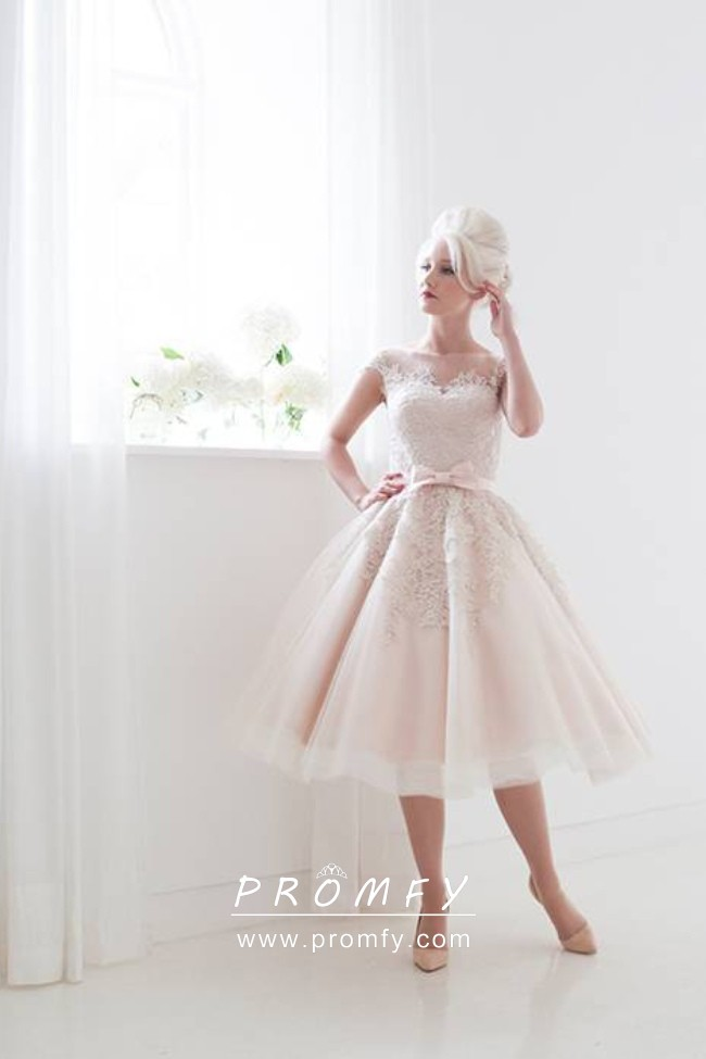 Blush Tulle And Lace Knee Length Wedding Ball Gown