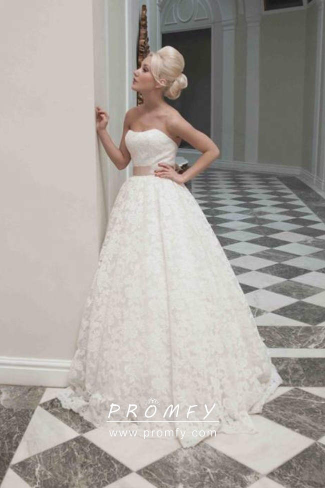 Strapless Ivory Lace Simple Ballgown Wedding Dress Promfy,Summer Floral Dresses For Weddings