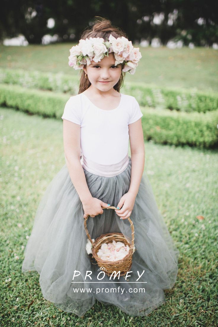 White Jersey and Dusty Blue Tulle Flower Girl Dress