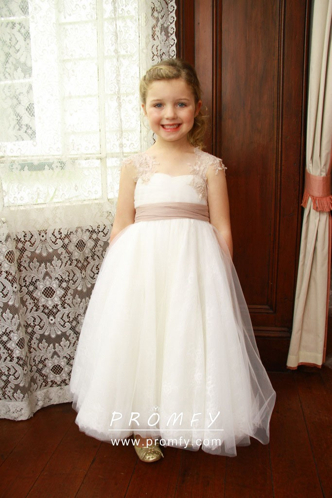White Flower Girl Dress With Pearl Pink Lace Strap Promfy