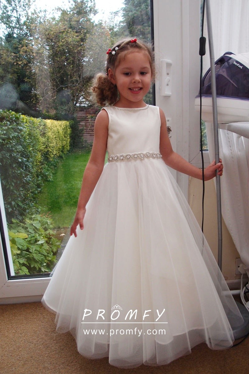 on sale best sneakers newest White Satin and Tulle Beaded Long Flower Girl Dress